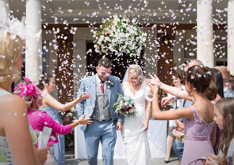 Bride Groom Confetti Eaves Hall Hotel Clitheroe Professional Wedding Photography