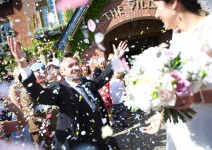 Bride Groom Confetti Smiles The Villa Wrea Green Preston Professional Wedding Photography