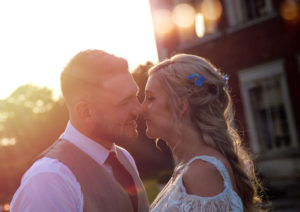 Bride Groom Golden Hour Eaves Hall Hotel Whalley Wedding Photography