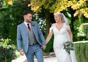 Bride Groom Walking Happy Smiles Eaves Hall Hotel Whalley Wedding Photography