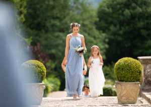Bridesmaid Flower Girl Walking Eaves Hall Hotel Whalley Wedding Photography