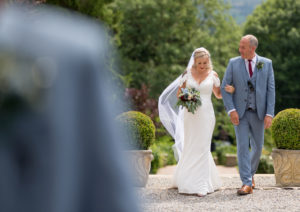 Father Daughter Moment Walking Aisle Eaves Hall Hotel Wedding Photography