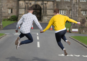 Stoneyhurst College Clitheroe Jumping Fun Pre Wedding Photography
